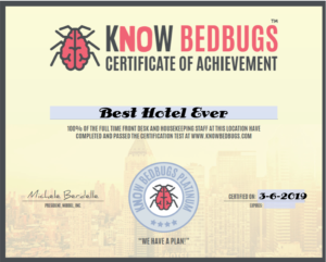 knowbedbugs certificate education about bedbug information for hotels