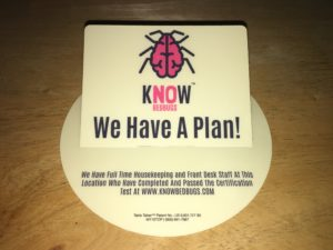 KnowBedBugs tabletop talker Certify Your Property
