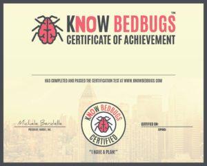 KnowBedBugs individual employee certificate blank